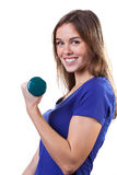 Girl with green weights Stock Photos