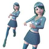 Girl in green winter cloth Stock Photos