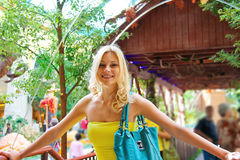 Girl in a greenhouse at Bellagio Hotel in Stock Photography