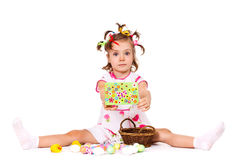 Girl with  greeting card Stock Photo
