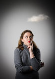 Girl in grey and cloud Royalty Free Stock Image