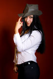 Girl in grey hat Royalty Free Stock Photography