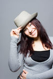 The girl in a grey hat Stock Photo