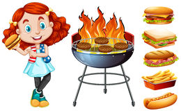 Girl and grill stove with food Stock Image