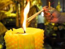 Girl grip and light the incense sticks from fire burning on cand. Le in temple Royalty Free Stock Photo