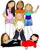 Girl Group. A Group Of Tweens/Teen Girls Posing For A Photo Royalty Free Stock Photography
