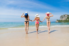 Girl Group On Beach Summer Vacation, Young Woman Wear Hat Sea Ocean Stock Photos