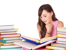 Girl with group book . Teenager girl with group book . Isolated Stock Image