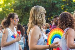 Madrid, Spain - 07 July 2019 - Gay Pride, Orgullo Gay Parade Girls royalty free stock photo