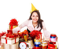 Girl with group of color gift box. Stock Image
