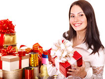 Girl with group of color gift box. Stock Photography