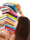 Girl with group colored book. Royalty Free Stock Photos