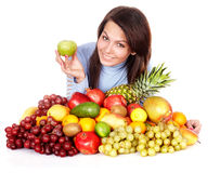 Girl with group of fruit and vegetables. Royalty Free Stock Photography