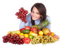 Girl with group of fruit and vegetables. Royalty Free Stock Photo