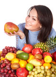 Girl with group of fruit and vegetables Royalty Free Stock Photo
