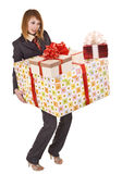 Girl with group of gift box. Royalty Free Stock Photo