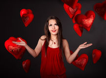 Girl with group heart. Royalty Free Stock Images