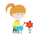 Girl Grows The Flower. Stock Images