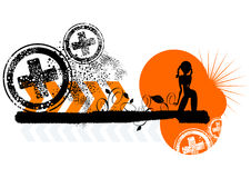 Girl grunge border. Girl in pigtails on orange and black graphic grunge border Royalty Free Stock Photos