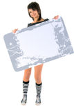 Girl With Grunge Message Board. Stock Photos