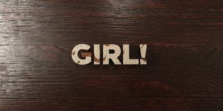 Girl! - grungy wooden headline on Maple  - 3D rendered royalty free stock image Stock Images