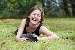 Girl with Guinea Pig Stock Photo