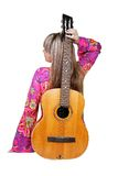 Girl with guitar. Over white Royalty Free Stock Photos