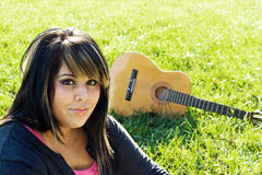 Girl and Guitar Stock Photos