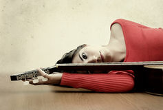 Girl with a guitar Royalty Free Stock Images