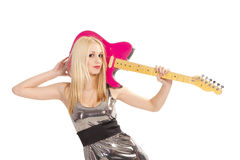 Girl with guitar. Lovely girl with pink electric guitar Stock Photos