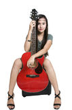 Girl with guitar. Picture of a girl with red guitar Stock Photos