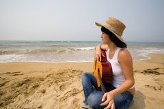 Girl & guitar Stock Photography