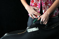 Girl and guitar stock photography