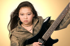 Girl with guitar. royalty free stock photo