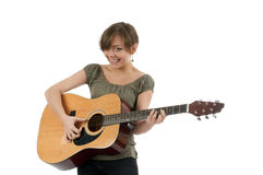 Girl with the guitar. Girl with the acoustic guitar Royalty Free Stock Photo