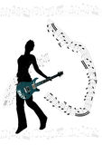 Girl with guitar background. Girl with electric guitar background - sheet of music included Royalty Free Stock Image