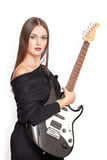 Girl with guitar. Girl with black electric guitar Stock Photos