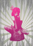 Girl with guitar on grunge background stock photography