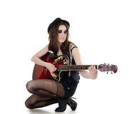 The girl with a guitar - grunge style Royalty Free Stock Image