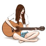 Girl with guitar hand drawing, vector illustration. Painted brunette young woman with long hair in white shirt and denim shorts ba. Refoot play guitar sitting in Stock Image