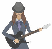 Girl with a guitar. Girl in a hat playing a guitar Stock Photo