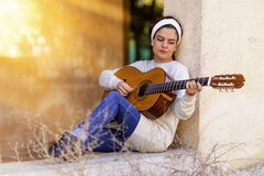 Girl, Guitar, Music, Instrument Stock Photo