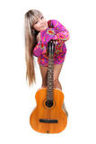 Girl with guitar over white Stock Photo