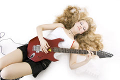 Girl Guitar Player Royalty Free Stock Photos