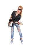 girl guitar playing Στοκ Εικόνες