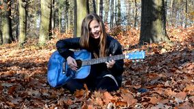 Girl with guitar stock footage