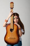 The girl with a guitar Stock Image