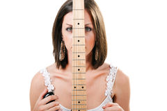 Girl with guitar on white background Stock Photo