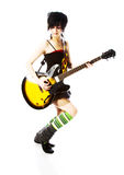 Girl guitarist of the group Stock Images