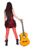 Girl guitarist with guitar rear view Stock Images